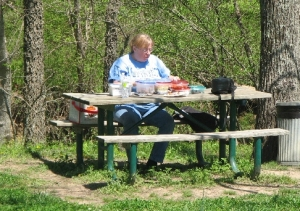 Sherry, my lovely wife of 30 years 4/11/2010, at the picnic table